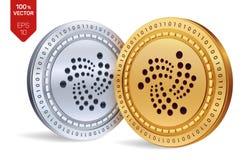 iota pièces de monnaie 3D physiques isométriques Devise de Digital Cryptocurrency Pièces d'or et en argent avec le symbole d'iota Photo stock