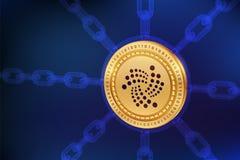 iota Schlüsselwährung Block-Kette isometrische Iota-Münze des Systemtest-3D mit wireframe Kette Blockchain-Konzept Editable Crypt Lizenzfreie Stockfotos
