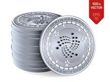 iota Schlüsselwährung isometrische körperliche Münzen 3D Digital-Währung Stapel Silbermünzen mit Iota-Symbol lokalisiert auf Weiß lizenzfreie abbildung