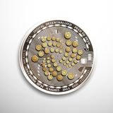 IOTA silver coin. Isolated detailed vector illustration on white background Royalty Free Stock Images