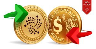 Iota to dollar currency exchange. Iota. Dollar coin. Cryptocurrency. Golden coins with Iota and Dollar symbol with green and red a. Rrows. 3D isometric Physical Stock Images