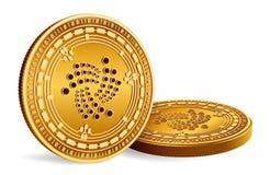 iota Valuta cripto monete fisiche isometriche 3D Valuta di Digital Monete dorate con il simbolo di iota isolate su fondo bianco Immagini Stock