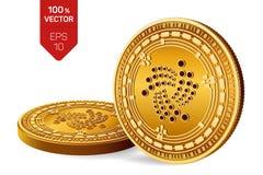 iota Valuta cripto monete fisiche isometriche 3D Valuta di Digital Monete dorate con il simbolo di iota isolate su fondo bianco Fotografia Stock