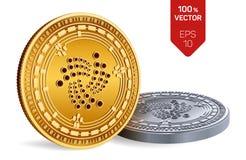 iota Valuta cripto monete fisiche isometriche 3D Valuta di Digital Monete dorate e d'argento con il simbolo di iota isolate Immagine Stock Libera da Diritti