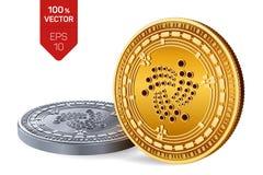 iota Valuta cripto monete fisiche isometriche 3D Valuta di Digital Monete dorate e d'argento con il simbolo di iota isolate sulla Immagini Stock Libere da Diritti