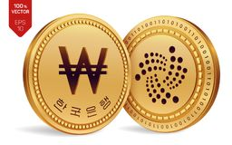 iota vinto monete fisiche isometriche 3D Valuta di Digital La Corea ha vinto la moneta Cryptocurrency Le monete dorate con lo iot Royalty Illustrazione gratis