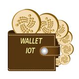 Iota wallet with coins on a white background. Crypto currency in the wallet ,iota coins in the wallet , design concept Royalty Free Stock Image