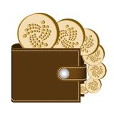 Iota wallet with coins on a white background. Crypto currency in the wallet ,iota coins in the wallet , design concept Stock Image