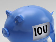IOU In Piggy Shows Borrowing From Savings Stock Image