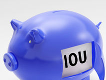 IOU In Piggy Shows Unemployment And Recession Royalty Free Stock Images