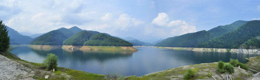 Iovan lake. Panoramic view of Iovan lake in Romania Stock Photo