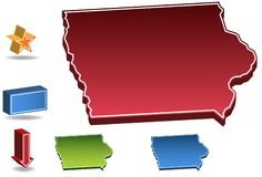 Iowa 3D. Set of 3D images of the State of Iowa with icons Royalty Free Stock Photography