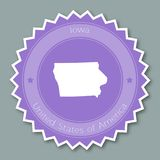 Iowa badge flat design. Round flat style sticker of trendy colors with the state map and name. US state badge vector illustration Stock Images