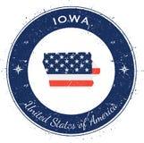 Iowa circular patriotic badge. Royalty Free Stock Image