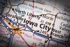 Iowa City en mapa Imagen de archivo