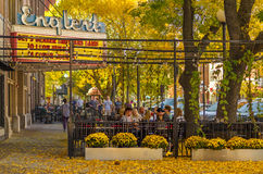 Iowa City Englert Theater. People having brunch on a beautiful fall day in Iowa City outside the iconic Englert Theater royalty free stock images