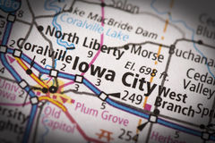 Iowa City on map. Closeup of Iowa City, Iowa on a road map of the United States Stock Image