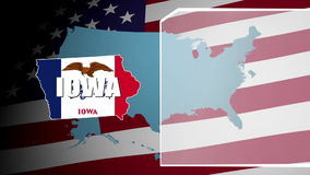 Iowa Countered Flag and Information Panel stock video
