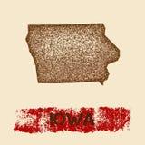 Iowa distressed map. Stock Photo