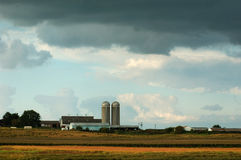Iowa farm. Storm clouds over a Warren County, Iowa, farm stock photography
