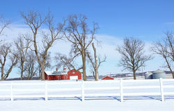 Iowa Farm. A vivid winter farm scene in rural Iowa stock photo