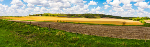 Iowa Farmland Panorama. Spring in Iowa, beautiful landscape royalty free stock images