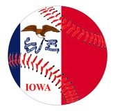 Iowa Flag Baseball. A new white baseball with red stitching with the Iowa state flag overlay isolated on white Royalty Free Stock Images