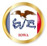 Iowa Flag Button. Iowa state flag button with a gold metal circular border over a white background Stock Photo