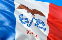 Iowa flag. 3D Waving USA state flag design. The national US symbol of Iowa state, 3D rendering. National colors and National flag stock photos