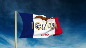 Iowa flag slider style with title. Waving in the stock footage