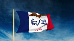 Iowa flag slider style. Waving in the win with. Iowa flag slider style. Waving with cloud background animation stock video