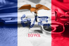 Iowa flag U.S. state Gun Control USA. United States Gun Law. S Stock Photo