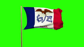 Iowa flag waving in the wind. Green screen, alpha. Matte. Loops animation stock video footage