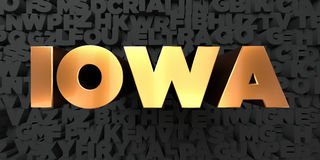 Iowa - Gold text on black background - 3D rendered royalty free stock picture Royalty Free Stock Photos