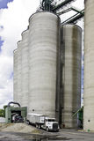 Iowa Grain Elevator. Grain elevators rise against a partly cloudy sky as trucks unload Royalty Free Stock Photography