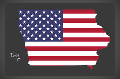 Iowa map with American national flag illustration Royalty Free Stock Image