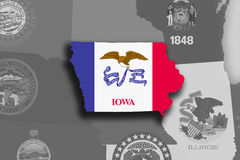 Iowa map and flag. Illustration of the State of Iowa silhouette map and flag. Its a JPG image Royalty Free Stock Photography