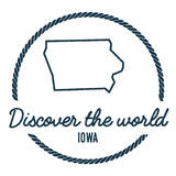 Iowa Map Outline. Vintage Discover the World. Royalty Free Stock Images