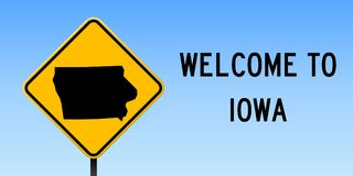 Iowa map on road sign. Wide poster with Iowa us state map on yellow rhomb road sign. Vector illustration vector illustration