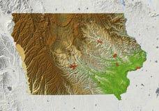 Iowa, mapa de relevo Ilustração Stock