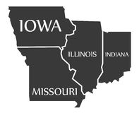 Iowa - Missouri - Illinois - Indiana Map labelled black. Illustration Royalty Free Stock Image