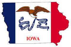 Iowa Outline Map and Flag Royalty Free Stock Image