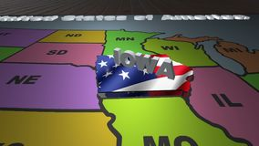 Iowa pull out from USA states abbreviations map. State Iowa pull out from USA map with american flag on background. A map of the US showing the two-letter stock footage