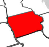 Iowa Red Abstract 3D State Map United States America. A red abstract state map of Iowa, a 3D render symbolizing targeting the state to find its outlines and Stock Image
