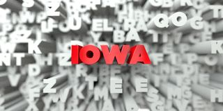 IOWA -  Red text on typography background - 3D rendered royalty free stock image Stock Photo