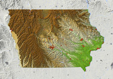 Iowa, relief map Royalty Free Stock Photo