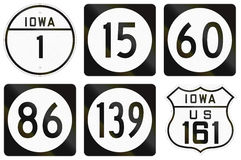 Iowa Route shields in the United States. Iowa Route shields used in the United States Royalty Free Illustration