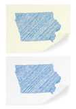 Iowa scribble map. On a white background Royalty Free Stock Photo