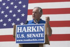 Iowa Sen. Tom Harkin. Speaking at his annual steak fry in Indianola, Iowa, on Sept. 13, 2009 Stock Image