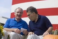 Iowa Sen Tom Harkin en Al Franken van Minnesota Sen Stock Foto
